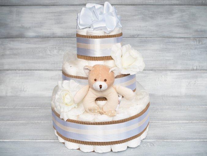 Plenkovy dort tripatrovy bilý neutralni medvidek
