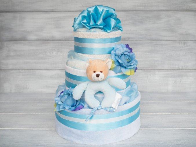 Tripatrovy plneny plenkovy dort modry pro chlapecka