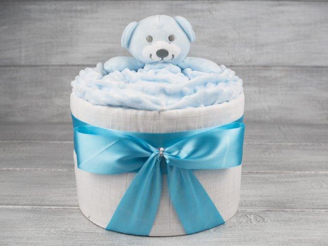 Plenkovy dort jednopatrovy mini pro chlapecka modry medvidek 5