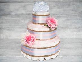 Plenkovy dort tripatrovy bilý ruzovy pro holcicku