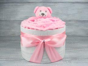 Plenkovy dort jednopatrovy mini ruzovy pro holcicku medvidek 5