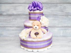Tripatrovy plenkovy dort fialovy hracka chrastitko