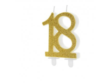 geburtstagskerze zahlenkerze glitter gold nummer 18