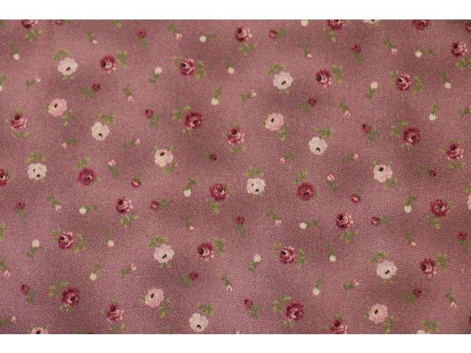 Látka Vigga rose růžičky na fialové