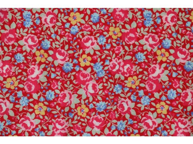 Látka Flower sugar kytičky na červené