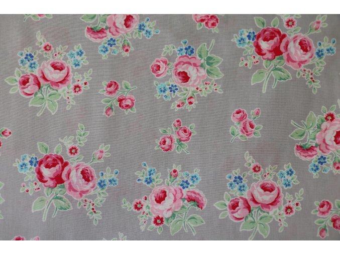Látka Flower sugar růže na šedé