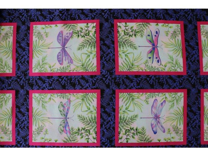 Látka Dragonfly Garden PANELY