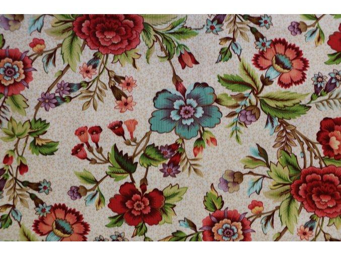 Látka Tarrytown béžová květy