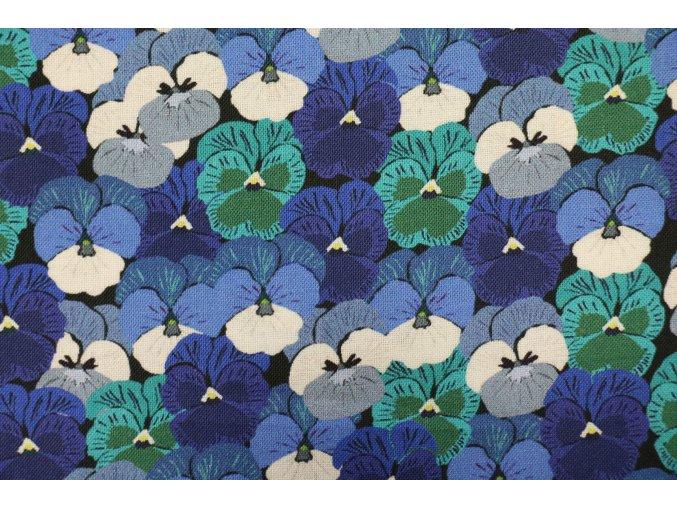 Látka Wild about flowers modrá