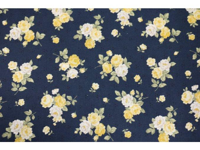 Látka Sofie rose modrá malé květy