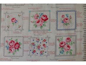 Látka Flower sugar růže panely