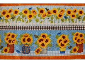 Látka Sunny Sunflowers pruhy