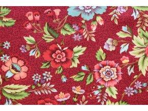 Látka Tarrytown červená květy