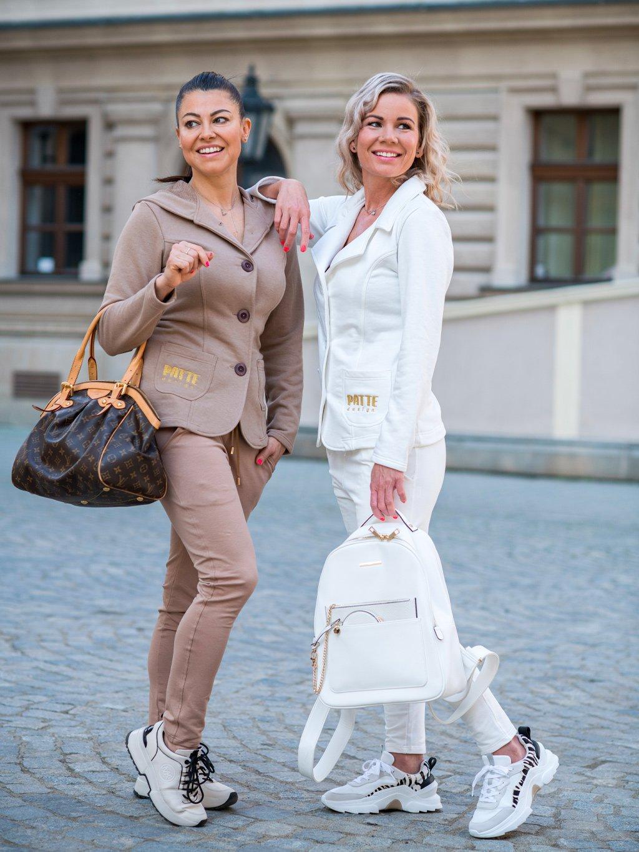 Luxusní dámské teplákové sako Patte Combi, nugátové