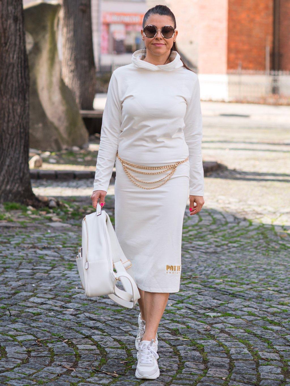 Teplákové šaty s dlouhým rukávem a kapucí Patte Combi, smetanové (bez řetízku)