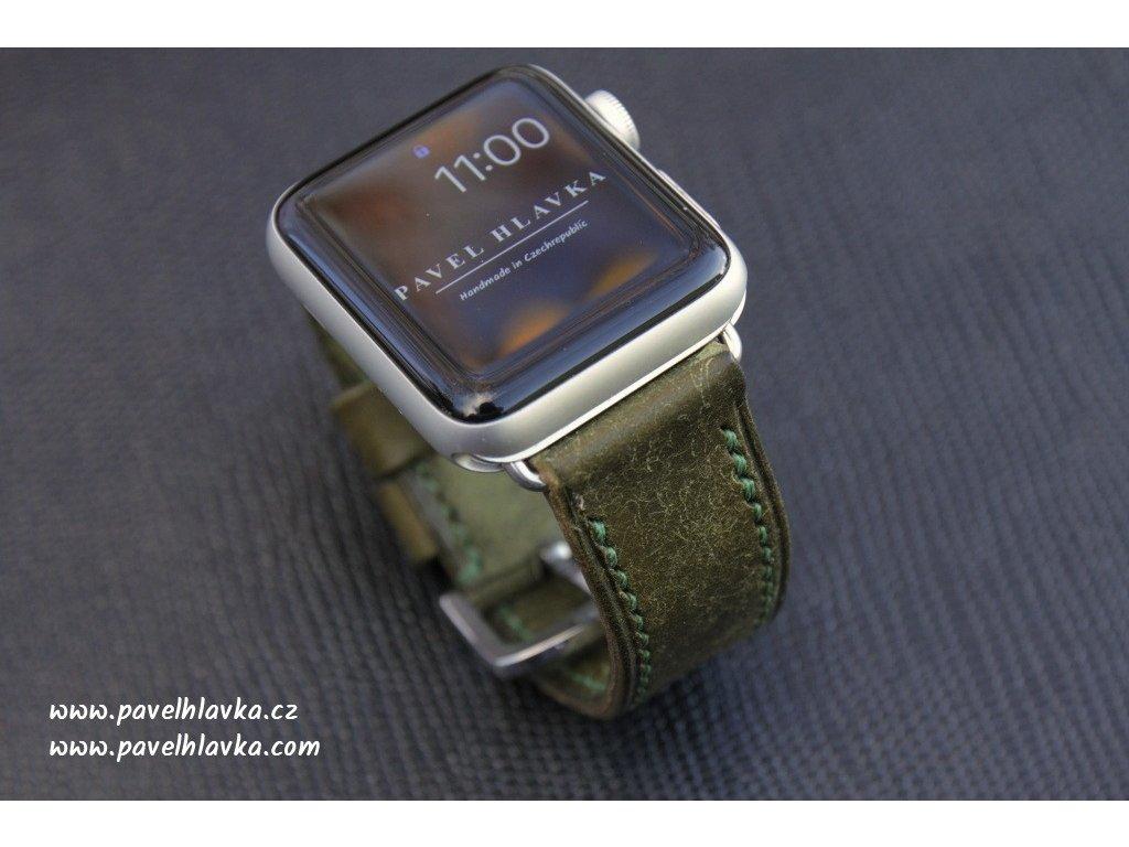 Ručně šitý kožený řemínek pásek apple watch ruční práce na zakázku patina zelený