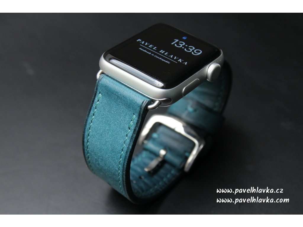 Ručně šitý kožený řemínek pásek apple watch ruční práce na zakázku pueblo modrý