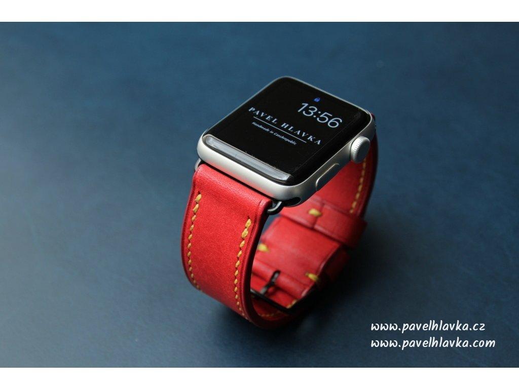 Ručně šitý kožený řemínek pásek pro Apple watch pueblo červený