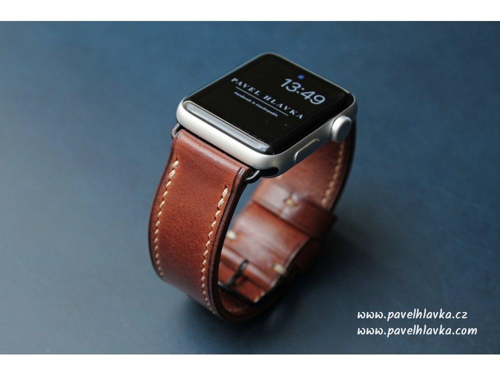 Ručně šitý kožený řemínek pásek apple watch ruční práce na zakázku Temp hnědý