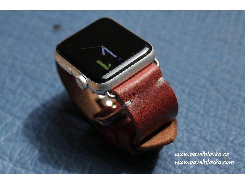 Ručně šitý kožený řemínek - pásek pro hodinky Apple Watch - ruční výroba na míru Horween Chromexcel hnědý