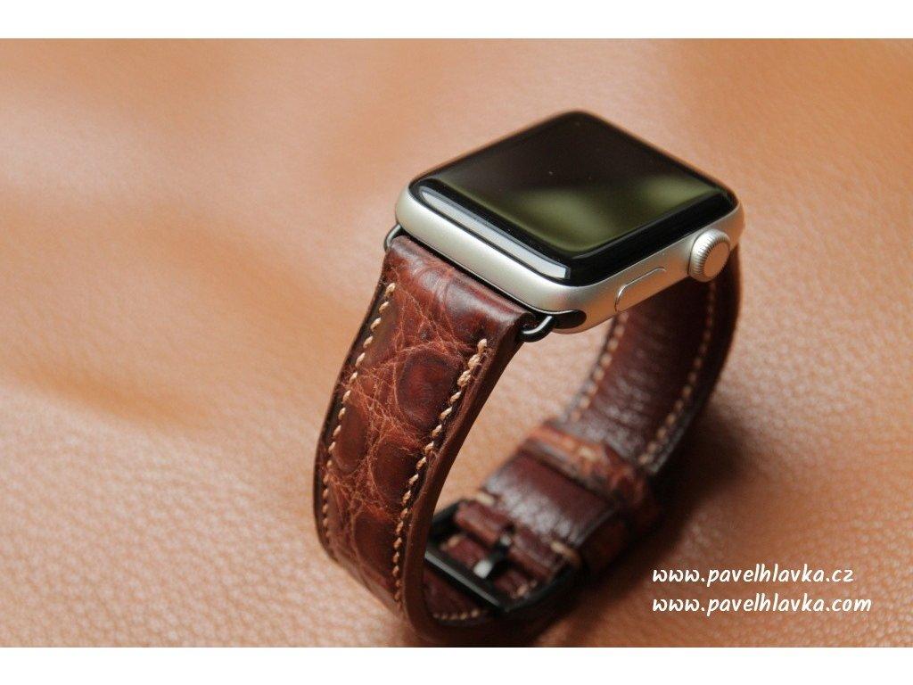 Kožený řemínek Apple Watch z krokodýlí kůže - hnědý