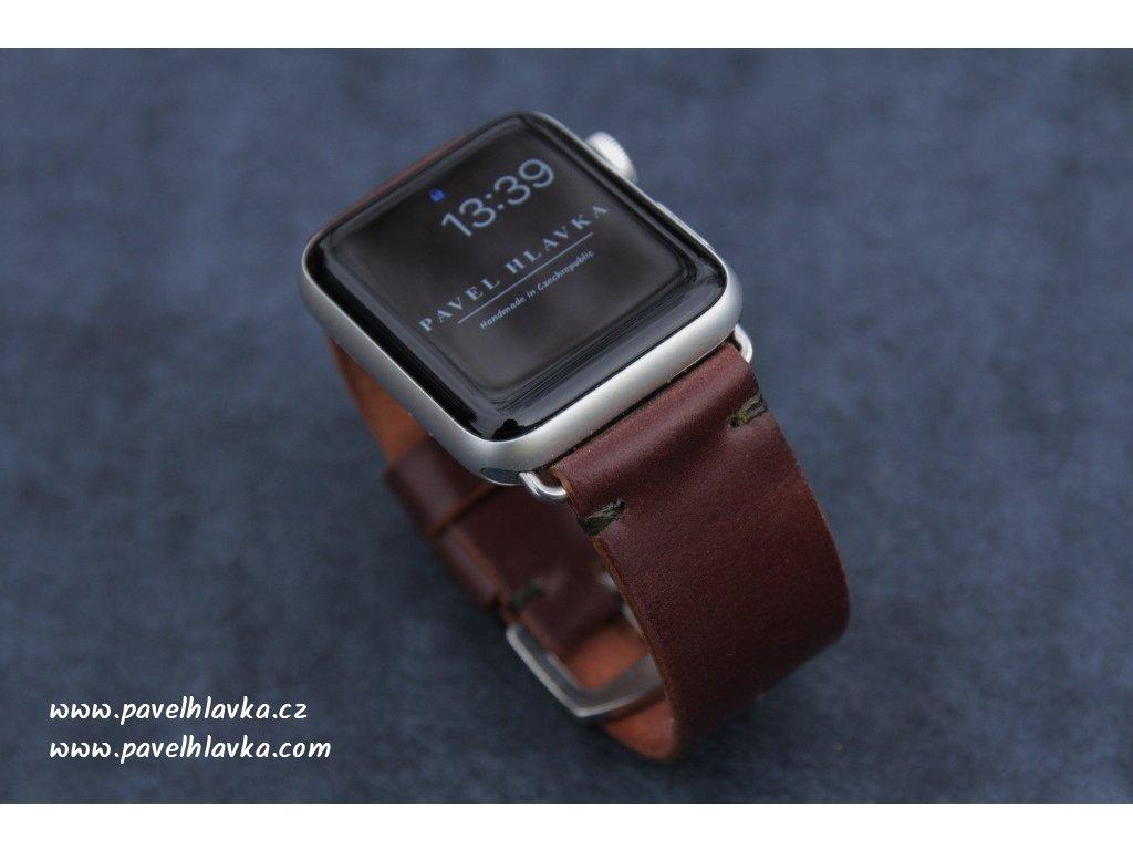Ručně šitý kožený řemínek pásek apple watch shell cordovan ruční práce hnědá