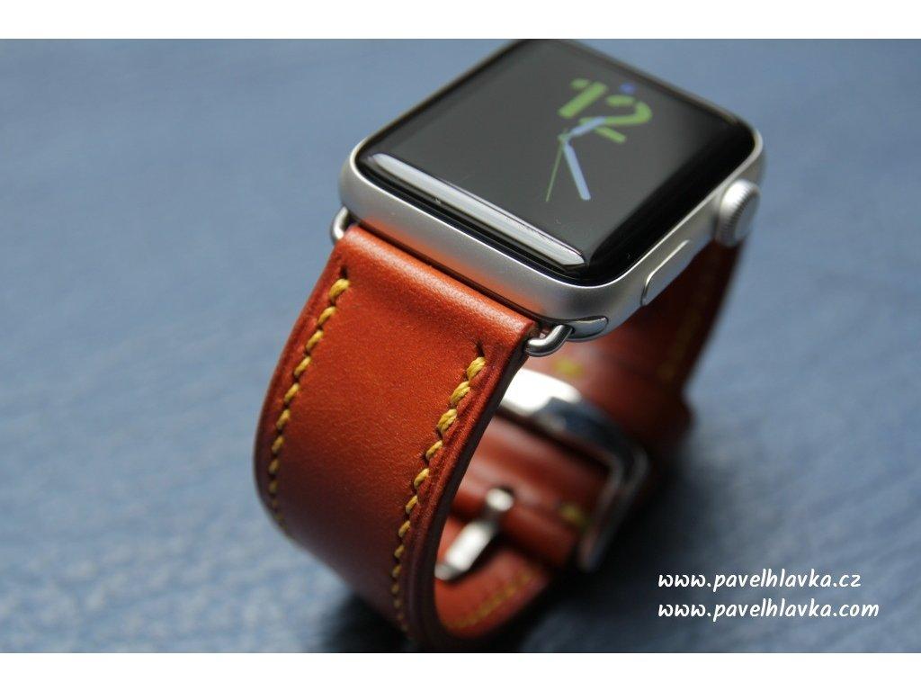 Ručně šitý kožený řemínek pásek apple watch ruční práce Temp TAN