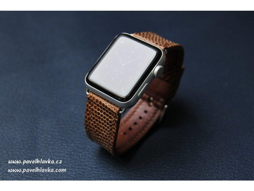 Kožený řemínek pro hodinky apple watch z kůže ještěrka