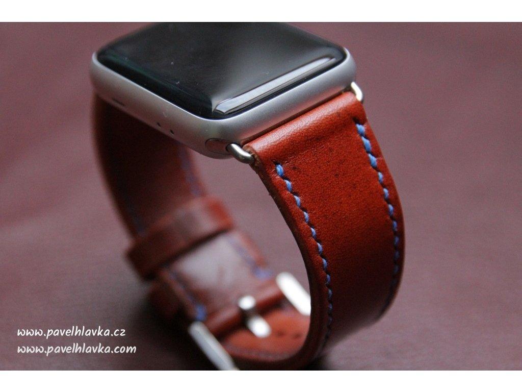 Ručně šitý kožený řemínek - pásek pro hodinky Apple Watch - ruční práce na míru hnědý rugato