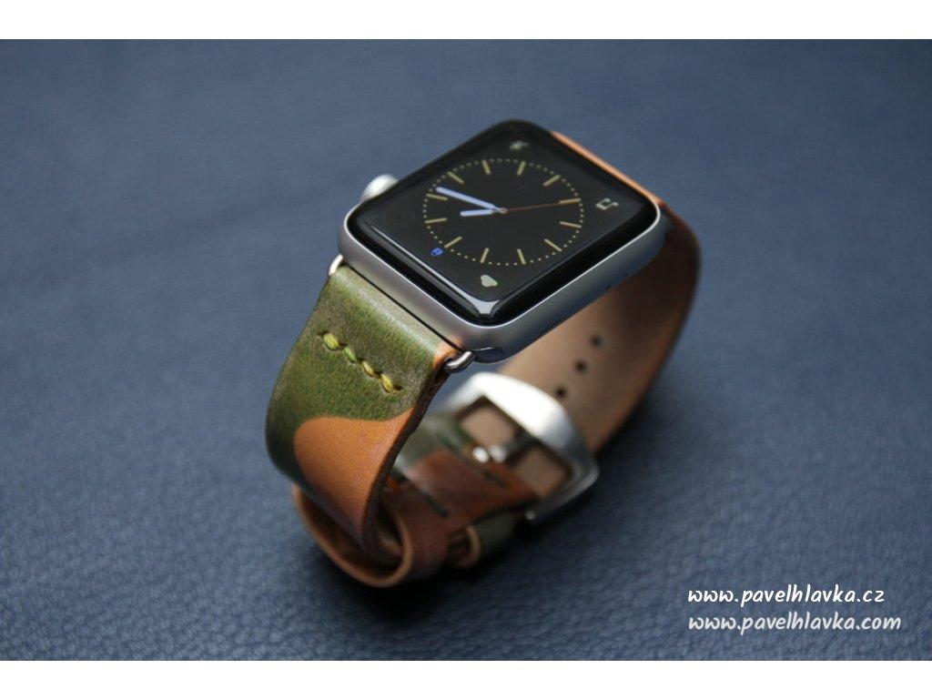 Ručně šitý kožený řemínek pásek pro hodinky apple watch maskáčová kůže Natural