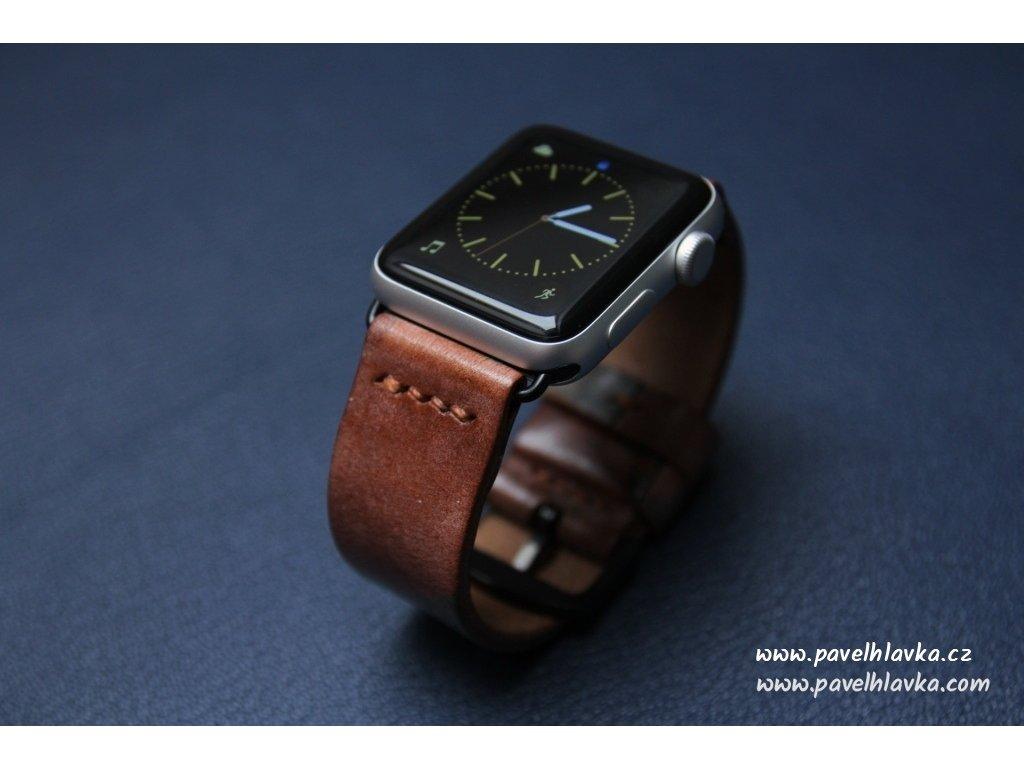 Ručně šitý kožený řemínek pásek pro hodinky apple watch maskáčová kůže Choco