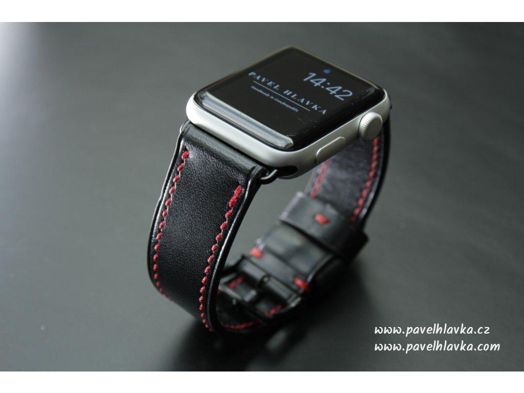 Ručně šitý kožený řemínek pásek pro hodinky apple watch walpi černý