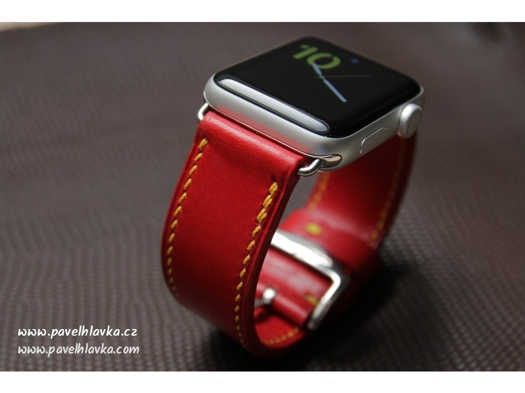 Ručně šitý kožený řemínek pásek pro hodinky Apple Watch z přírodní kůže Walpi červený