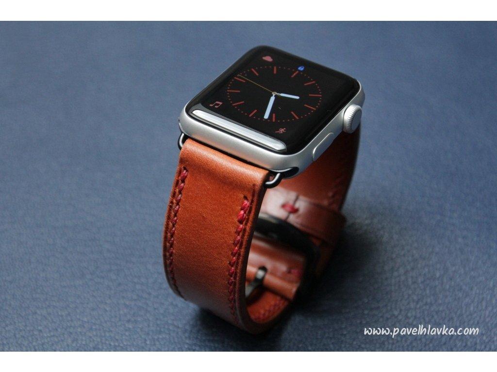 Ručně šitý kožený řemínek pásek pro hodinky apple watch walpi světle hnědý světle hnědý