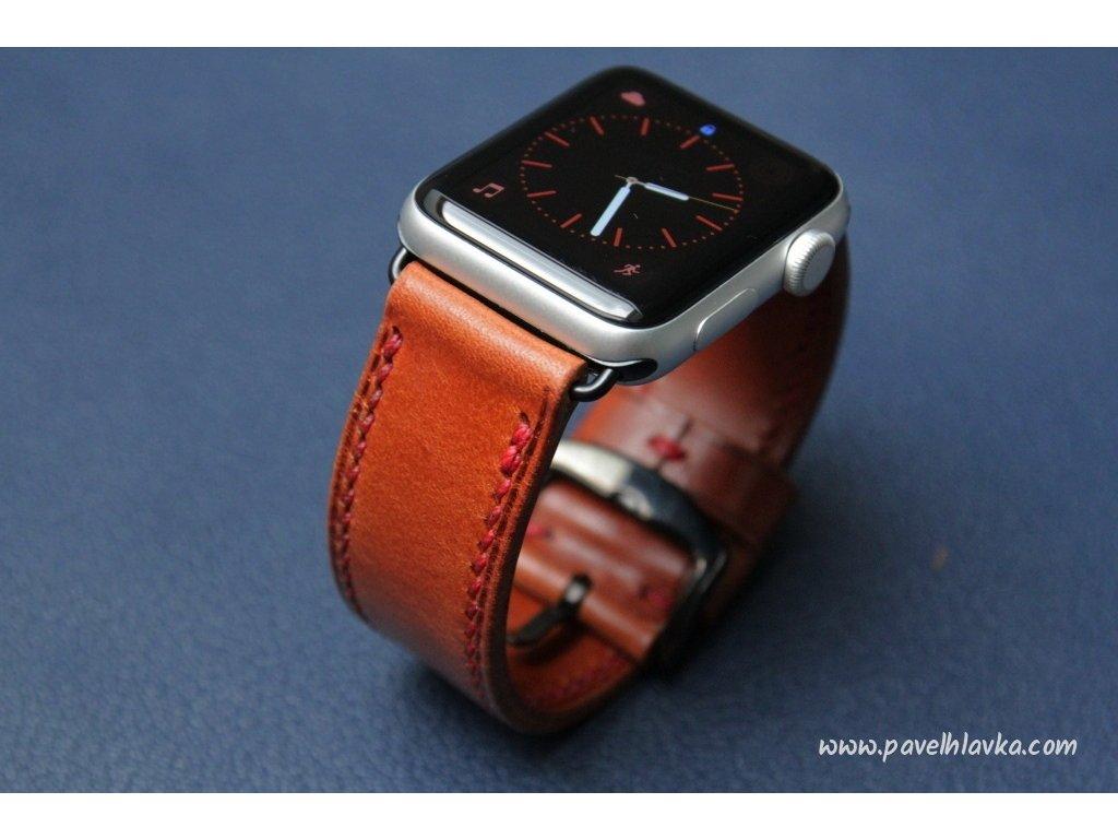 Ručně šitý kožený řemínek pásek pro hodinky apple watch walpi světle hnědý