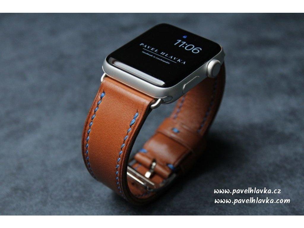 Ručně šitý kožený řemínek pásek pro hodinky Apple watch hermes barenia gold