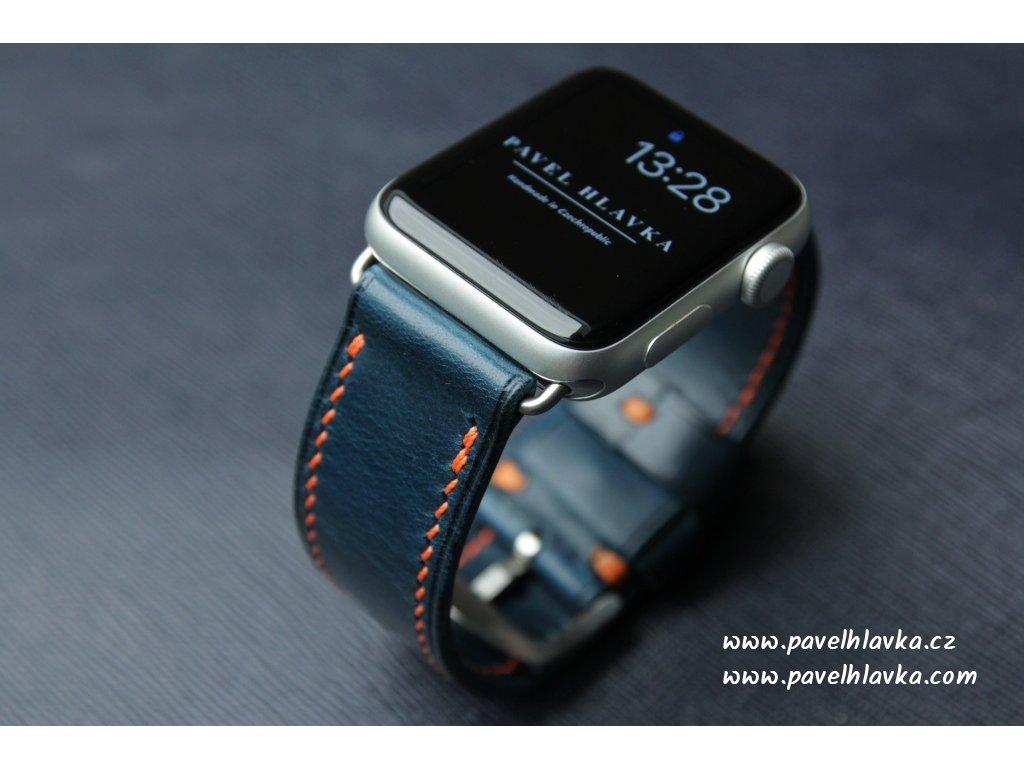 Ručně šitý kožený řemínek pásek pro hodinky apple watch walpi modrý