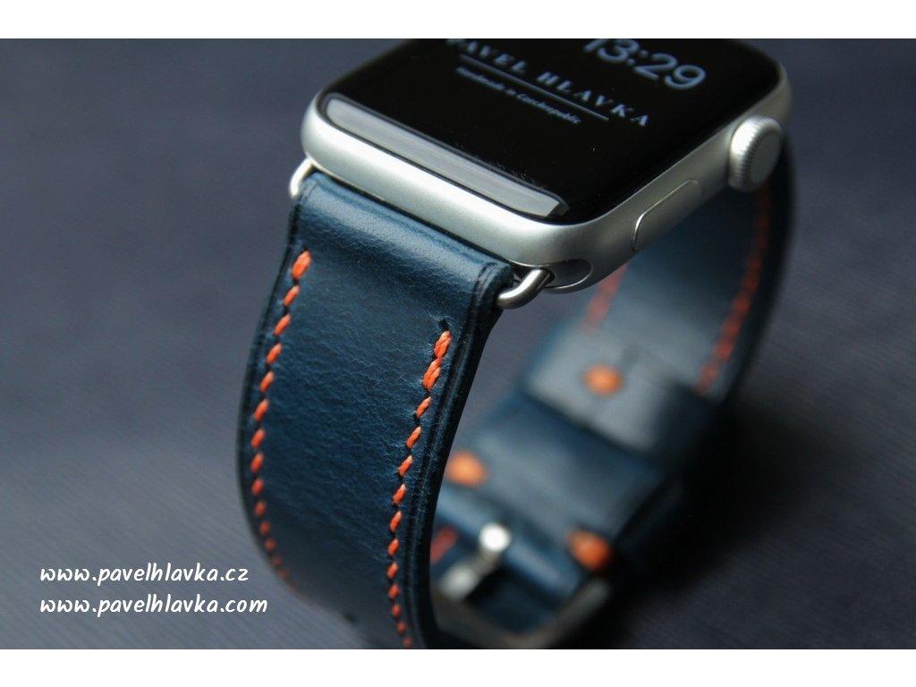 Kožený řemínek na hodinky apple watch z přírodní kůže modrý