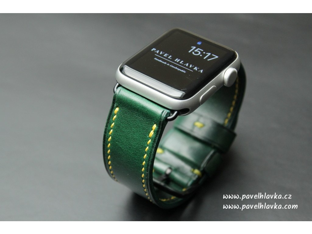 kožený řemínek pásek hodinky apple watch walpi zelený