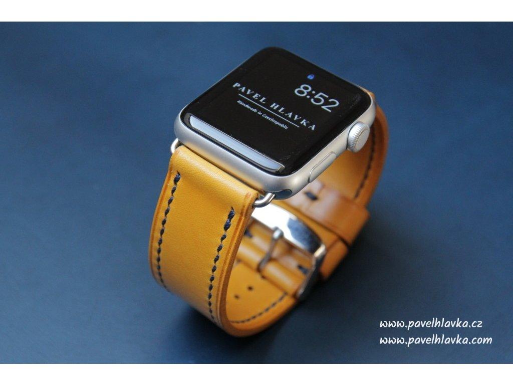 Ručně šitý kožený řemínek pásek pro hodinky apple watch walpi žlutý
