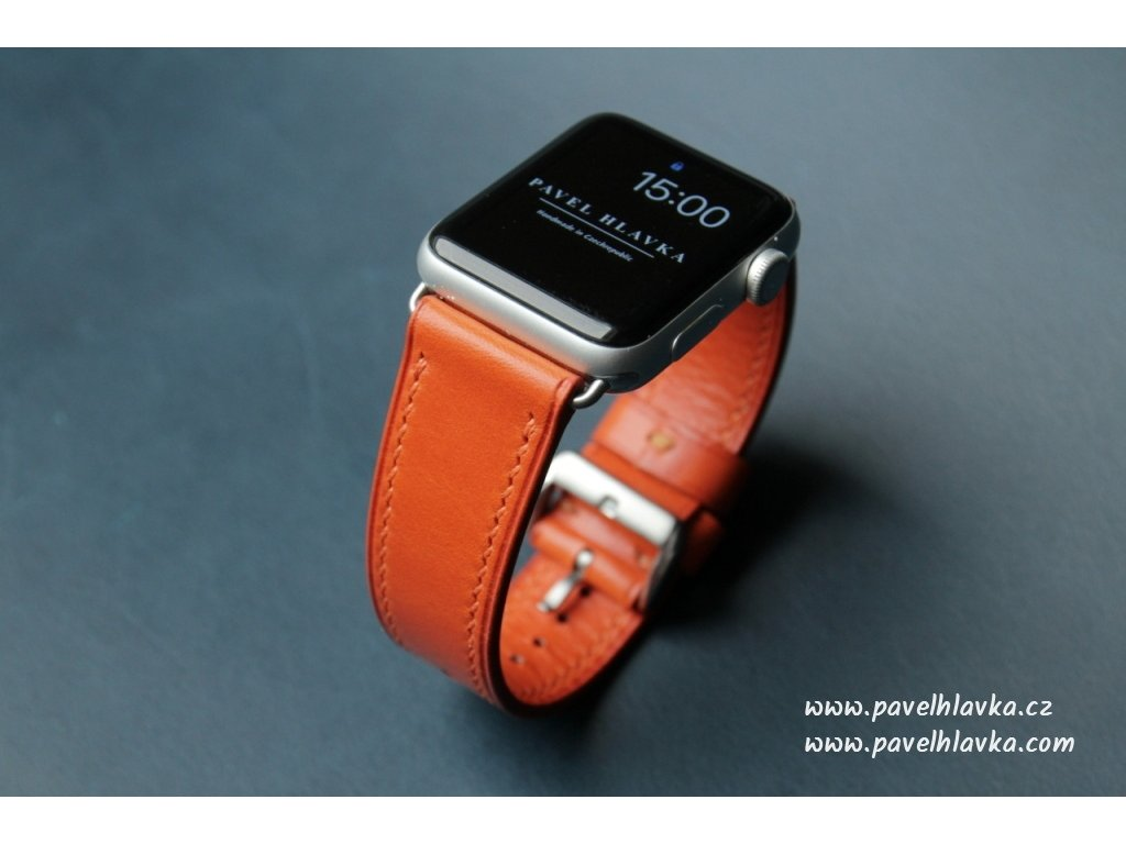 Ručně šitý kožený řemínek pásek pro hodinky apple watch walpi oranžový