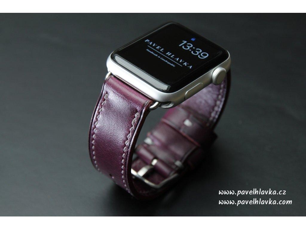Ručně šitý kožený řemínek pásek pro hodinky apple watch walpi fialový