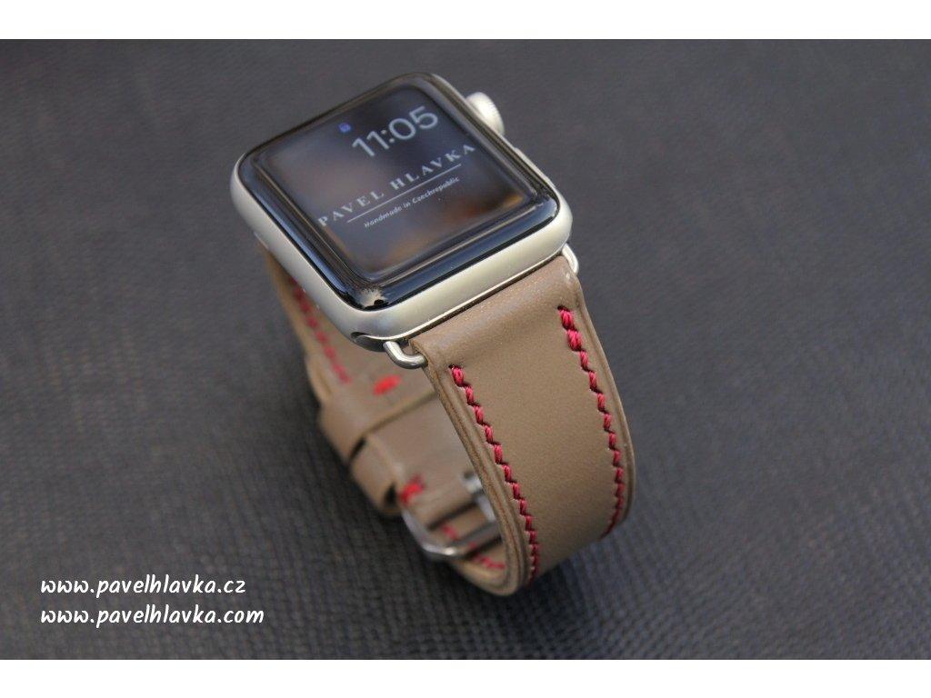 Ručně šitý kožený řemínek pásek pro hodinky apple watch walpi šedá