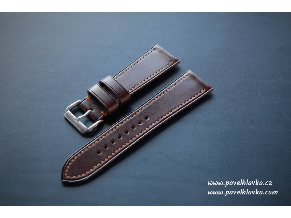 Ručně šitý kožený řemínek pásek pro hodinky apple watch walpi hořká čokoláda