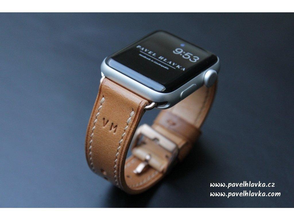 Ručně šitý kožený řemínek pásek pro hodinky apple watch walpi medový