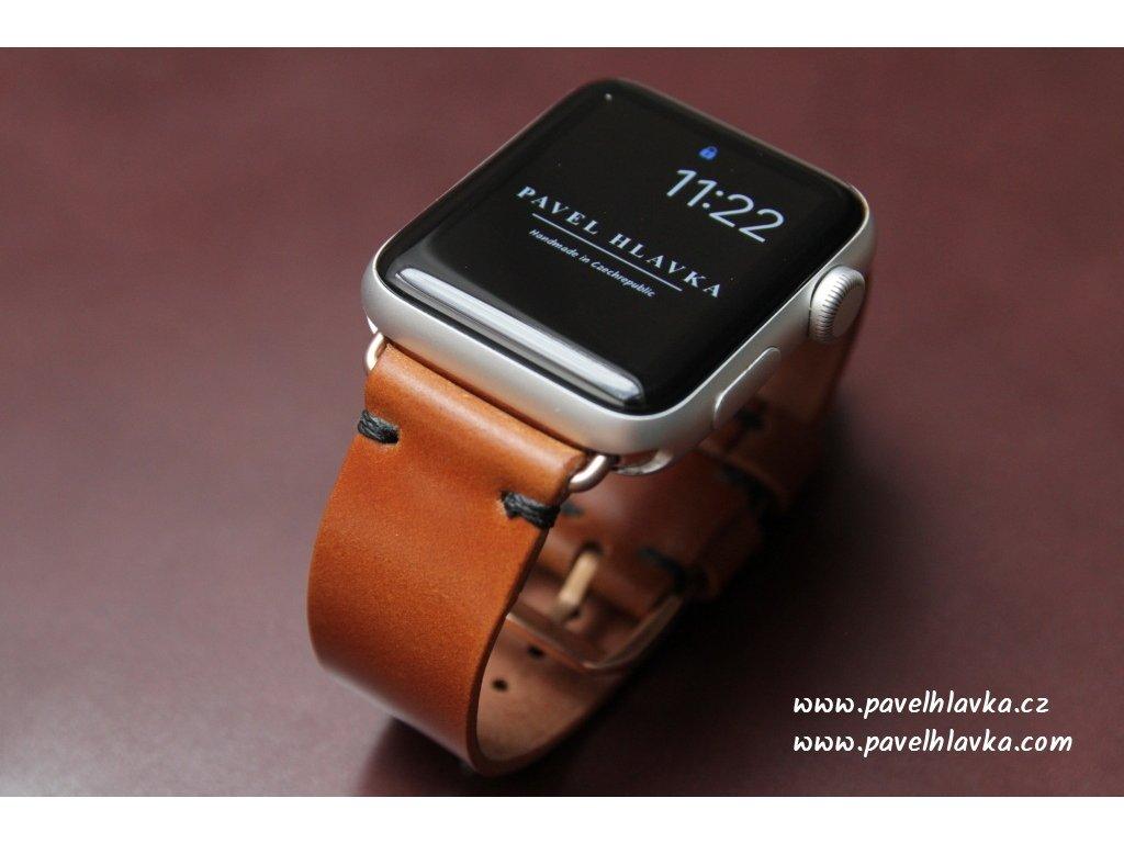 Ručně šitý kožený řemínek pásek apple watch shell cordovan ruční práce whiskey