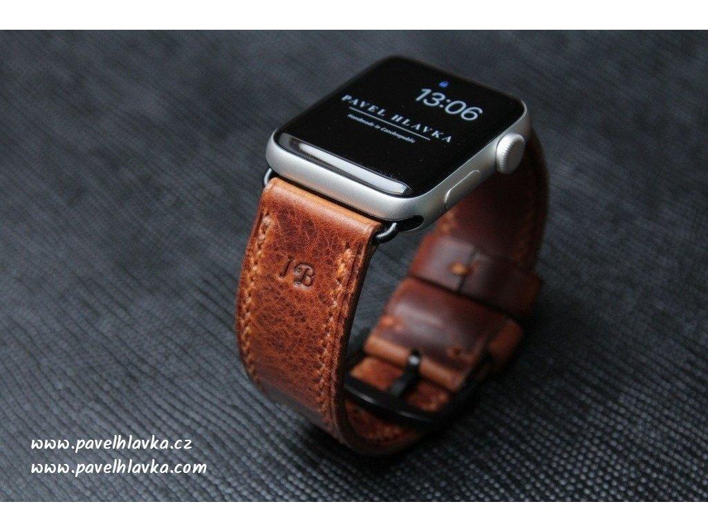 Ručně šitý kožený řemínek pásek pro hodinky apple watch WAX světle hnědý koňak