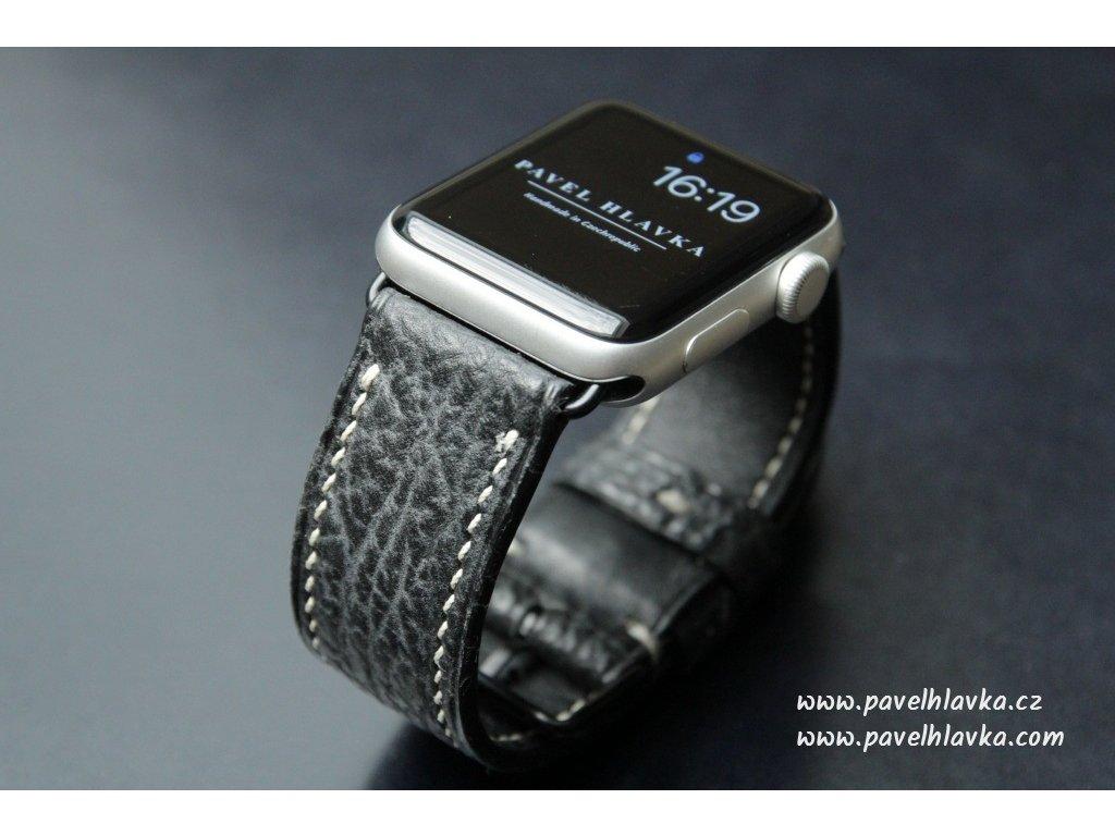 Ručně šitý kožený řemínek pásek pro hodinky apple watch z kůže žralok černý