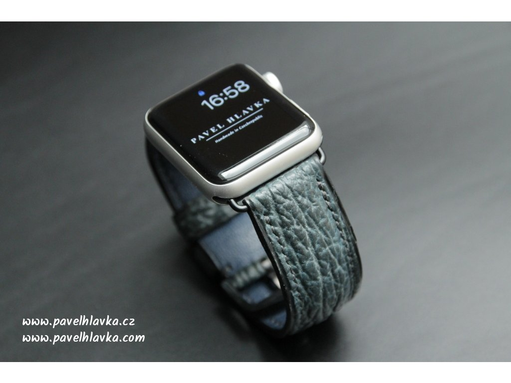 Kožený řemínek pro hodinky apple watch z kůže žralok petrolejová