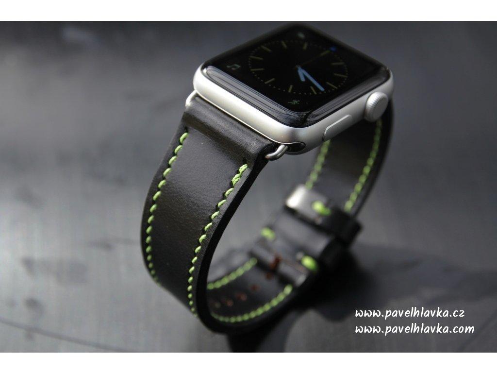 Kožený řemínek na hodinky apple watch z přírodní kůže english bridle černý